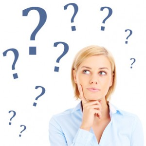 Woman is having question over white background