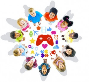 Group of Children Looking Up with Gaming Symbols