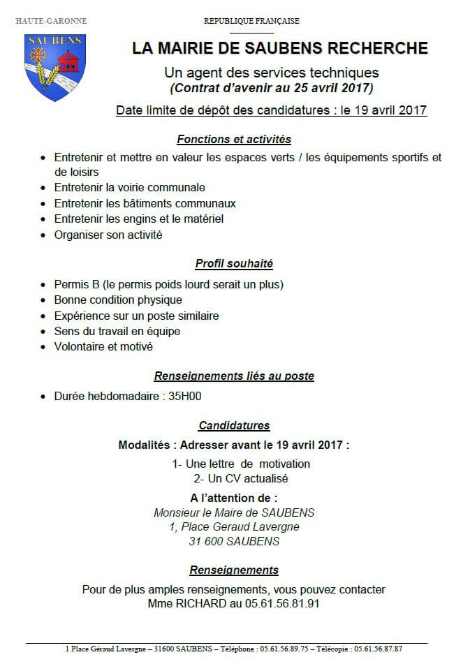 La Mairie de SAUBENS recherche un emploi d