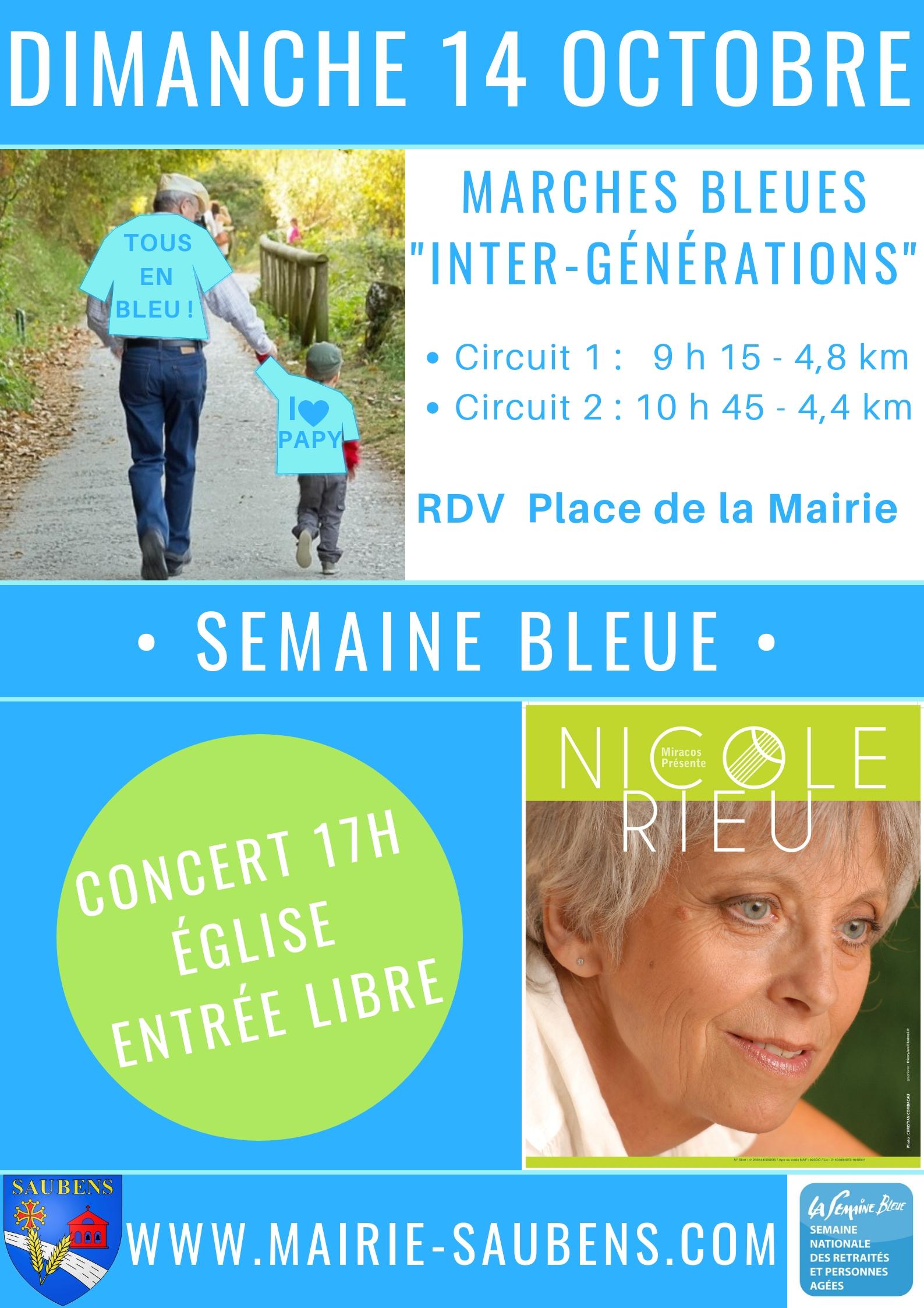 Semaine bleue marches et concert de Nicole Rieu