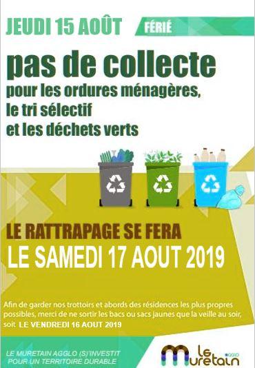 Jeudi 15 août pas de collecte ordures ménagères.  Rattrapage prévu le samedi 17 août.