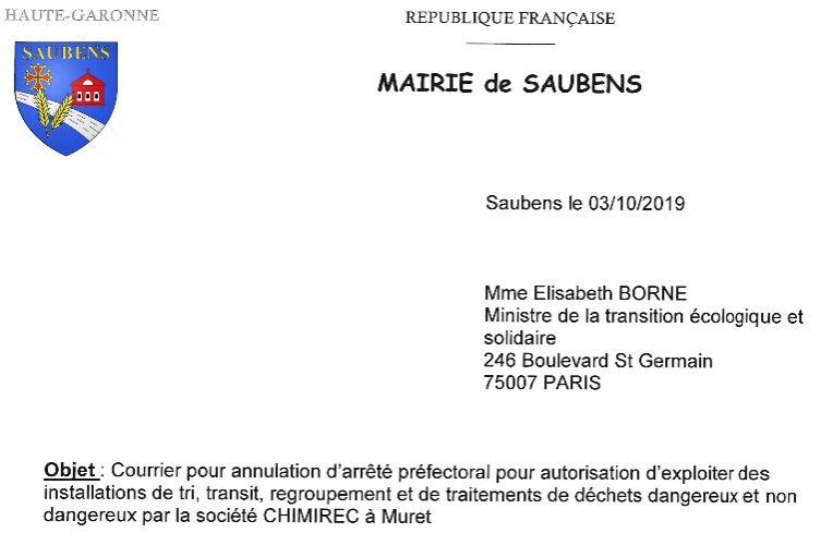 CHIMIREC : lettre à Elisabeth BORNE, Ministre de la Transition écologique et solidaire