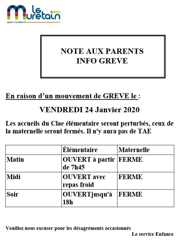 GREVE ACCUEIL PERISCOLAIRE ET CANTINE VENDREDI 24 JANVIER 2020