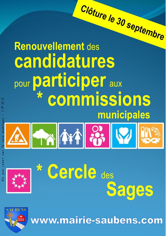 APPEL à CANDIDATURE pour participer aux commissions municipales
